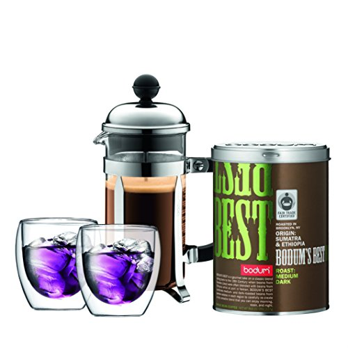 Bodum CHAMBORD Coffee Maker, French Press Coffee Maker, Stainless Steel, Glass, 12 Ounce (3 Cup)