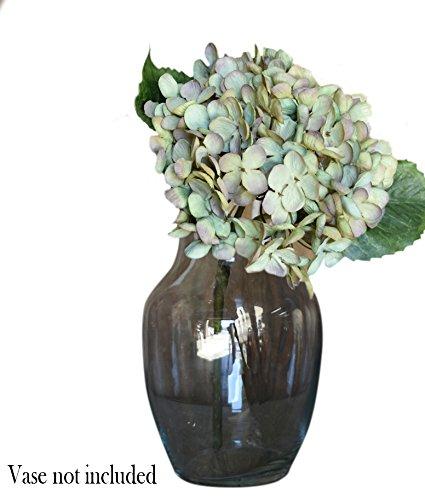 Artificial Silk Hydrangea Spray Pick Big Head Faux Bouquet - Flower Bright Petals Bush on Short Stem in Vibrant Colors, 13 Inches Blooming Florals for Home & Wedding Decor Embellishing (Aqua - Stem Hydrangea