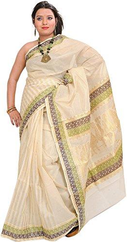 Exotic India Ivory Kasavu Sari from Kerala with Woven Little Krishna - Off-white