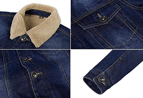 Invernale Pesante Plus Velluto Trench Classica blau Giacca Pelliccia Denim In Uomo 5 Parka Calda Abbigliamento Con Da vwPq8xSp