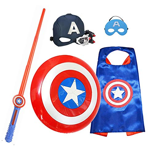Kids Superhero Dress Up Costumes 5 Packs-Civil War Scope Vision Helmet & Satin Capes Felt Masks & Sound and light Shield & Sound and light Sword