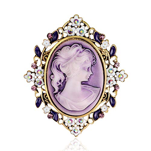 RareLove Vintage Gothic Costumes Mom Cameo Brooch Pin for Bouquet Lady Maiden Beauty Purple Crystal Carved