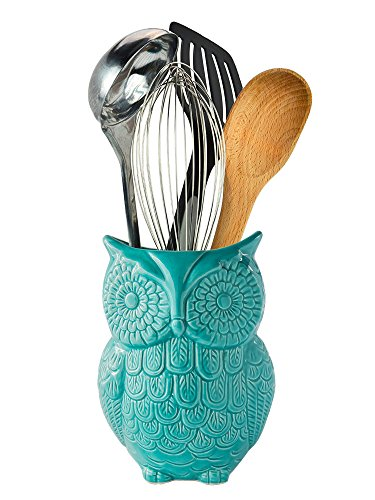 "Bookends Fun (Owl Utensil Holder by Comfify - Decorative Ceramic Cookware Crock & Organizer, in Lovely Aqua Blue Color - Utensil Caddy and Perfect Kitchen Ceramic Décor Gift - 5"" x 7"" x 4"" Size)"