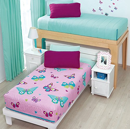 BUTTERFLY TEENS GIRLS CHIC BUNKBED REVERSIBLE COMFORTER SET 2 PCS TWIN SIZE (Twin Comforter Sets For Bunk Beds)