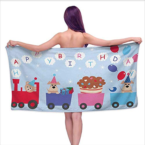 Onefzc Travel Bath Towel Kids Birthday Celebration Baby Bear Dog in Train Balloons Clouds on Pale Blue Backdrop Super Soft Highly Absorbent W35 x L12 Multicolor by Onefzc (Image #5)