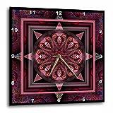 3dRose dpp_24842_2 Mandala 10 Chakra Purple Pink Black Flower Power Hippie India Orient Oriental Meditate Peace Harmony-Wall Clock, 13 by 13-Inch