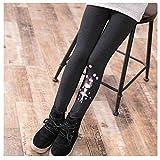 PQWE Girls Winter Warm Fleece Lined Elastic Waist Thick Leggings (Gray, S(Height:100-110cm))