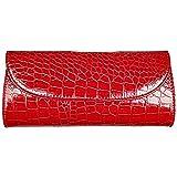 Fashion Road Evening Clutch, Croc Skin Embossed Clutch Purses Women, Handbags Party Wedding Red