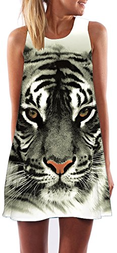 Women Tiger Digital Printed Casual Elastic Mini Short Dress Ribbed Tank Tops,3,S