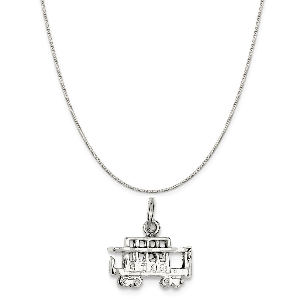 16-20 Mireval Sterling Silver Streetcar Charm on a Sterling Silver Chain Necklace