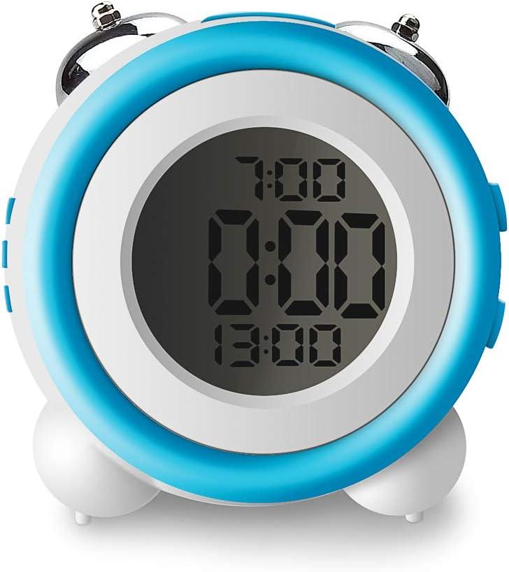 Controluce LED 2 Forte Allarmi 24H Nero IKEAN Sveglia Digitale da Comodino A Pile Doppia Campana Snooze Bambini Sveglia Elettronica Senza Ticchettio da Viaggio