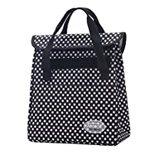 Aosbos Fashionable Insulated Lunch Bag With Pockets Foldable Lunch Box for Adults Women Men Kids Girls Boys White Dot