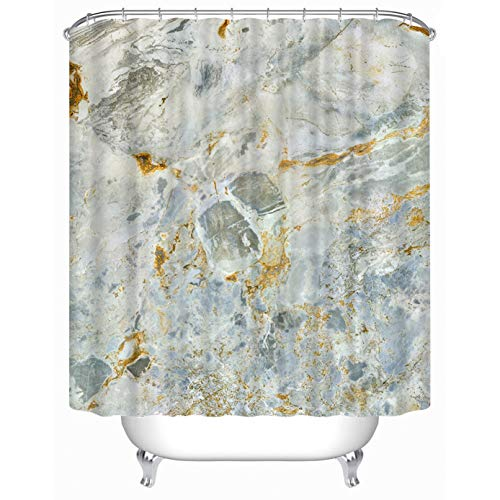 """(Cheerhunting Mable Shower Curtain, Nature Stone Color Vintage Design Teal Artwork, Bathroom Accessory with Hooks, 72""""W x 72""""H Waterproof Fabric Bathroom Decor)"""