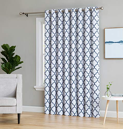 HLC.ME Lattice Print Thermal Grommet Blackout Patio Door Window Curtain for Sliding Glass Door - Platinum White & Navy Blue - 100