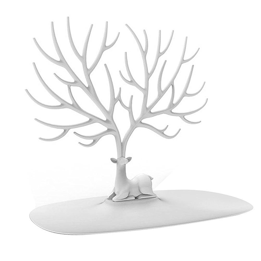 Pixnor Ciervos de sostenedor de la joyer/ía joyer/ía pantalla pendiente collar porta joyas Stand Rack almacenamiento blanco del /árbol