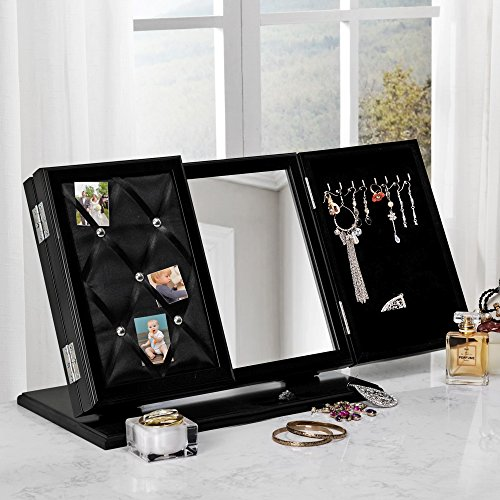 Inspired Home Cindy Modern Contemporary 3-in-1 Trifold Tabletop Vanity Mirror with Jewelry Storage and Memo Board, Black by Inspired Home
