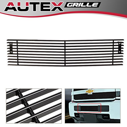 AUTEX Black Horizontal Billet Bumper Grille Insert C66319H Compatible With 2015 2016 2017 2018 Chevy Silverado 2500HD 3500HD Grill