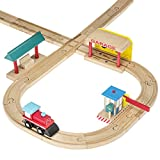 Wooden Train Tracks Accessories Set 100% Compatible with All Major Train Brands - 5 Pieces - By Dragon Drew