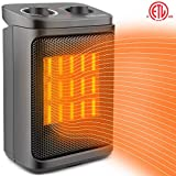 Space Heater Electric Heater Portable PTC Ceramic Heater with Adjustable Thermostat, Fan Quiet and Overheat Protection ETL Listed for Office Home Kitchen Bedroom and Dorm, 800/1500W