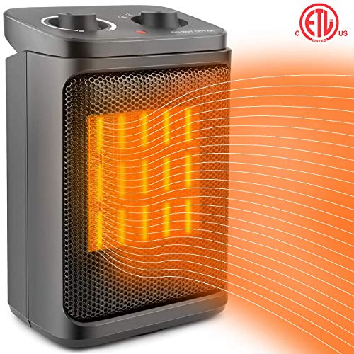 Space Heater Electric Heater Portable PTC Ceramic Heater with Adjustable Thermostat, Fan Quiet and Overheat Protection ETL Listed for Office Home Kitchen Bedroom and Dorm, 800 1500W