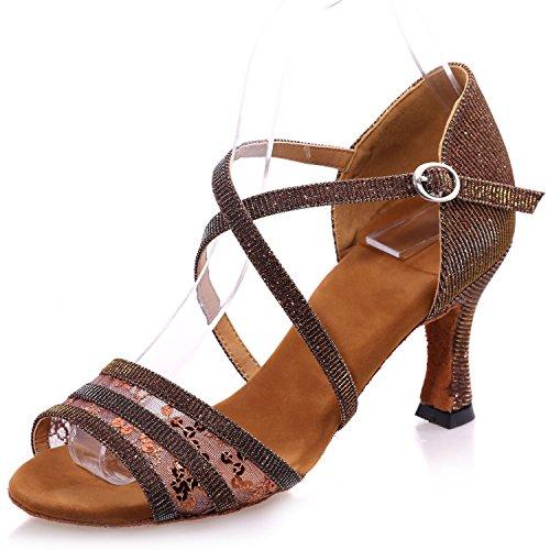 Formal Elobaby Jazz 34 Heel Dress 7 Kitten Dance Classic Fashion Peep Brown Women's Heeled 42 Shoes Toe 5cm 0nZxw0P