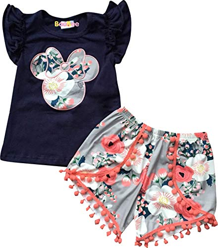 Boutique Baby Girls Minnie Mouse Head Floral Top Short Outfit Navy Gray 12-18M/2XS]()