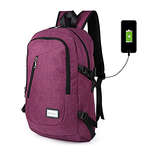 7b4616da2d98 Waterproof Computer Laptop Backpack Outdoor Travel Backpacks with USB  Charging Port High school bag Adult Campus Student Bags Business Slim Tech  Vintage ...