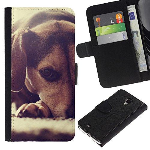 EuroCase - Samsung Galaxy S4 Mini i9190 MINI VERSION! - beagle puppy small dog foxhound - Cuero PU Delgado caso cubierta Shell Armor Funda Case Cover