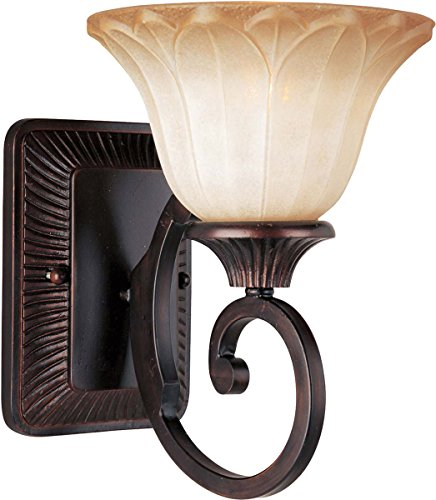 (Maxim 13511WSOI Allentown 1-Light Wall Sconce Bath Vanity, Oil Rubbed Bronze Finish, Wilshire Glass, MB Incandescent Incandescent Bulb , 100W Max., Damp Safety Rating, Standard Dimmable, Glass Shade Material, 4600 Rated Lumens)
