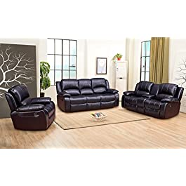 Betsy Furniture 3PC Bonded Leather Recliner Set Li...