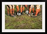 GreatBIGCanvas ''Muddy Legs of Soccer Players '' Photographic Print with black Frame, 30'' X 20''''