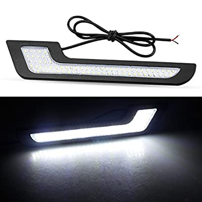 LEADTOPS Daytime Running Lights LED White Light L-Shape Strips 72 SMD Glass LENS with Back Sticker 12V DRL 6W DIY LED Lamp 100% Waterproof,1 Year Warranty (2 Pack): Automotive