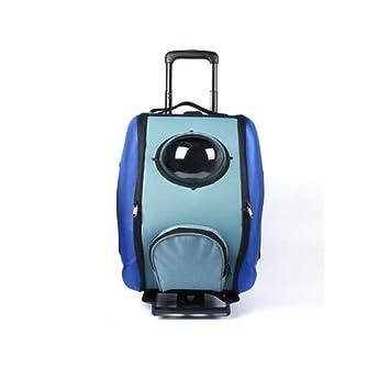 XDYFF Transportin Carrito Perro Mochila Carrito Bolso Multifuncional para Mascotas de la polea de la Caja de la Carretilla para Perros al Aire Libre,Blue: ...