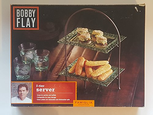 Bobbly Flay 2-Tier Glass Plate Server with Metal Stand
