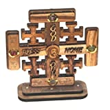 Jerusalem Cross olive wood Cross carved by Laser with Holy Land samples – standing or hanging ( 14 cm or 5.5 inches )