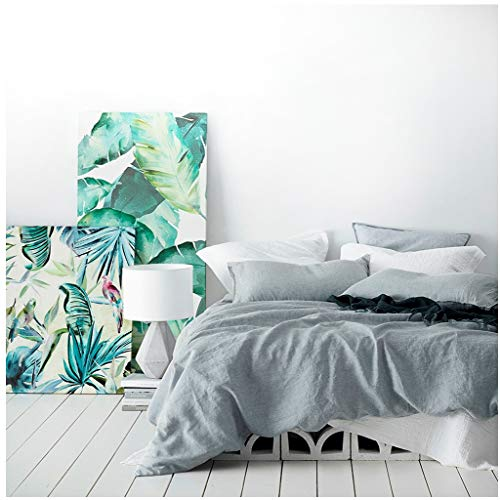 Eikei Washed Cotton Chambray Duvet Cover Solid Color Casual Modern Style Bedding Set Relaxed Soft Feel Natural Wrinkled Look (Queen, Cloudy -