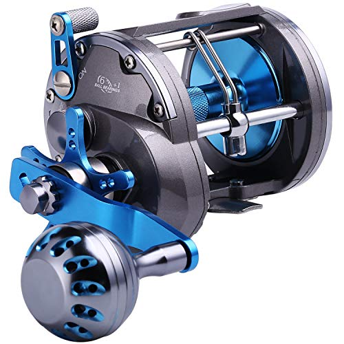 Sougayilang Trolling Reel Saltwater Level Wind Reels,Conventional Reels Boat Fishing Ocean Fishing for Sea Bass Grouper Salmon ...