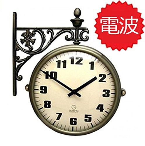 両面電波時計 両面時計 Interior Double Face Wall Clock おしゃれな インテリア 両面壁掛け時計 電波両面時計 M195-IA B072KVMJWF
