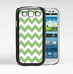 Green and White Chevron Pattern (Samsung Galaxy S3 I9300) Hard Snap on Phone Case Cover