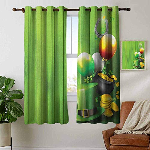 petpany Blackout Curtains 2 Panels St. Patricks Day,Wood Design with Shamrock Lucky Clovers Pot of Gold Coins and Horse Shoe, Fern Green,for Room Darkening Panels for Living Room, Bedroom 42