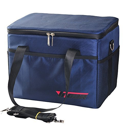 Plates Aluminum Square Support (Collapsible Thermal Insulated Cooler Bag Tote Heavy Duty Picnic Cooler with Shoulder Strap Large Pack 28 Liter Portable Foldable Reusable Outdoor Camping Hiking Travel,Navy Blue)