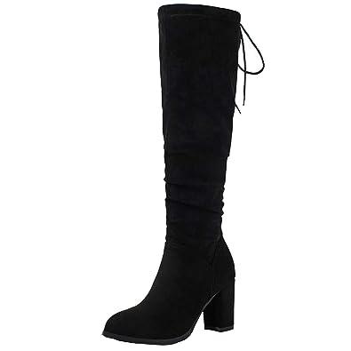 Klassische Stiefel Blockabsatz High Heels Schnürstiefel mit 12lQQ