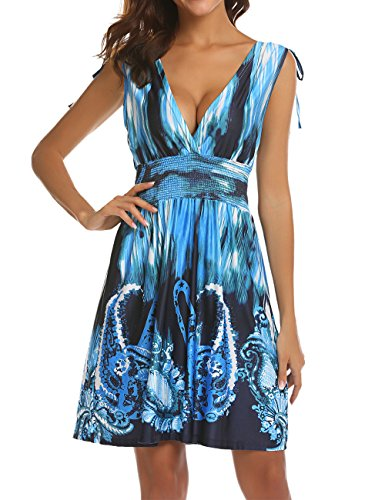 LuckyMore Empire Waist Lightweight Summer Prints Sundress Womens Casual Relaxed Sleeveless Beach Short Mini Dress Blue XL