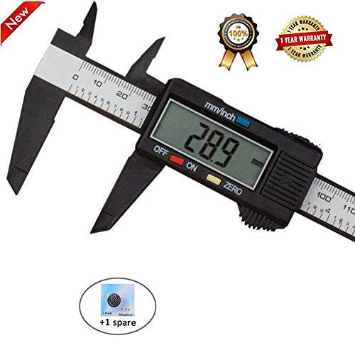 (Diagtree 150mm 6inch LCD Digital Electronic Digital Vernier Caliper Carbon Fiber Vernier Caliper Gauge Micrometer Measuring Micrometer - Auto Off Featured Measuring Tool)
