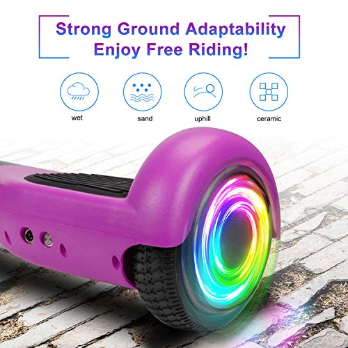"""SISIGAD Hoverboard Self Balancing Scooter 6.5"""" Two-Wheel Self Balancing Hoverboard with LED Lights Electric Scooter for Adult Kids Gift UL 2272 Certified - Purple"""