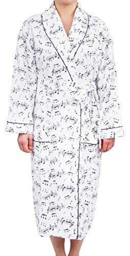 Leisureland Women's Cotton Flannel Novelty Long Robe (One Size, Music Notes White) Cat Robe