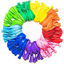 Dusico Party Balloons 12 Inches Rainbow Set (100 Pack), Assorted Colored Balloons Bulk Made with Strong Latex for Helium Or Air Use, Birthday Balloon Arch Supplies