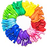 Party Balloons 12 Inches Rainbow Set (100 Pack), Assorted Colored Balloons Bulk Made With Strong Latex For Helium Or Air Use, Birthday Balloon Arch Supplies