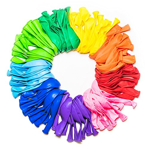 (Dusico® Party Balloons 12 Inches Rainbow Set (100 Pack), Assorted Colored Party Balloons Bulk, Made With Strong Latex, For Helium Or Air Use. Birthday Balloon Arch Supplies, Decoration)