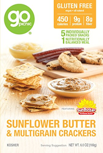 GoPicnic Ready-to-Eat Meals Sunflower Butter & Multigrain Crackers, 6 oz boxes (Pack of - Go Warehouse